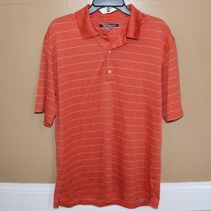 Greg Norman Men's Orange Striped Polo Shirt